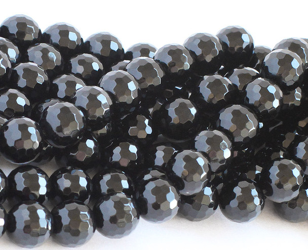 12mm  Black onyx (Grade A) faceted round beads