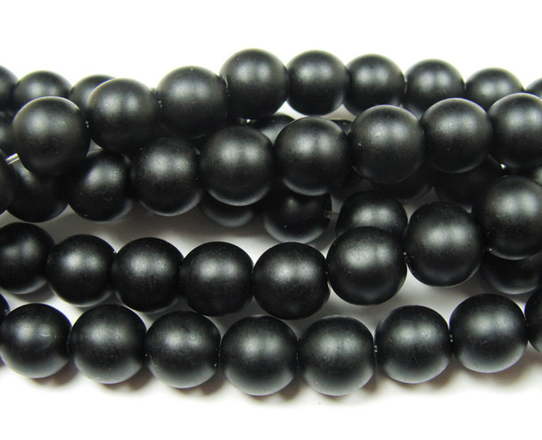 8mm  15.5 inches Black matte glass round beads