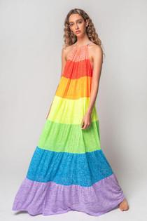 Popsicle Halter Dress in Rainbow - PETITE