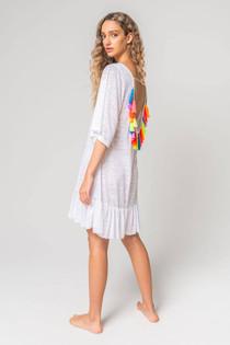 Tassel Back Mini Dress in White