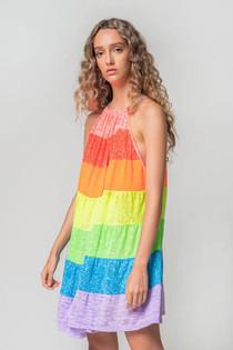 Popsicle Mini Halter Dress Bright Rainbow