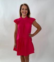 Poplin Smocked Dress in Hot Pink