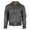 German Grey Leather Flight Jacket from Hessen Antique