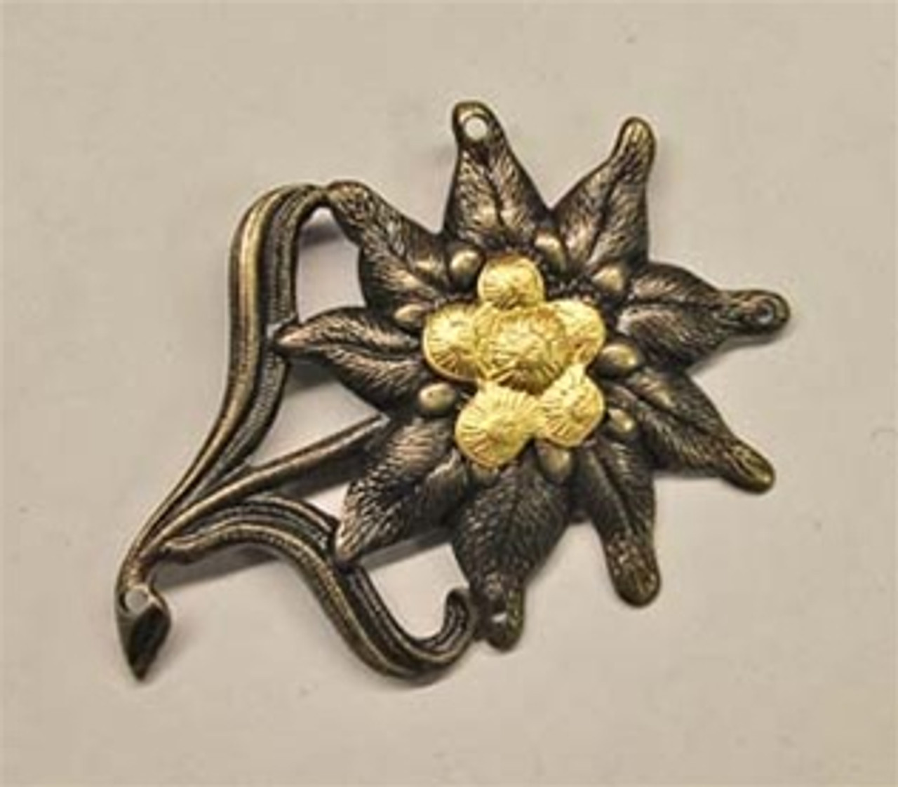 Bw German Army Edelweiss Cap Insignia from Hessen Antique
