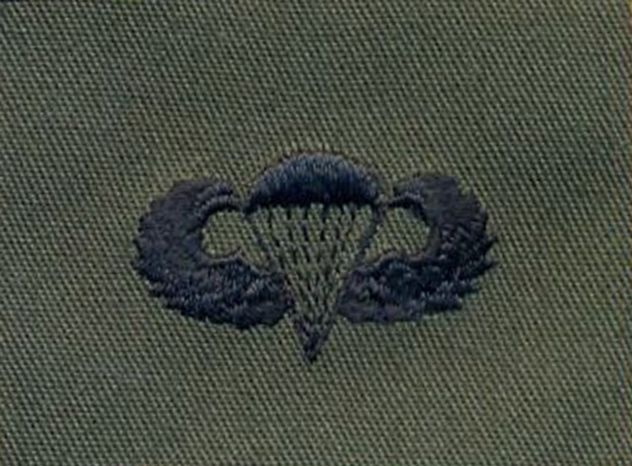 Army Basic Parachute -  Embroidered - Black Thread from Hessen Antique