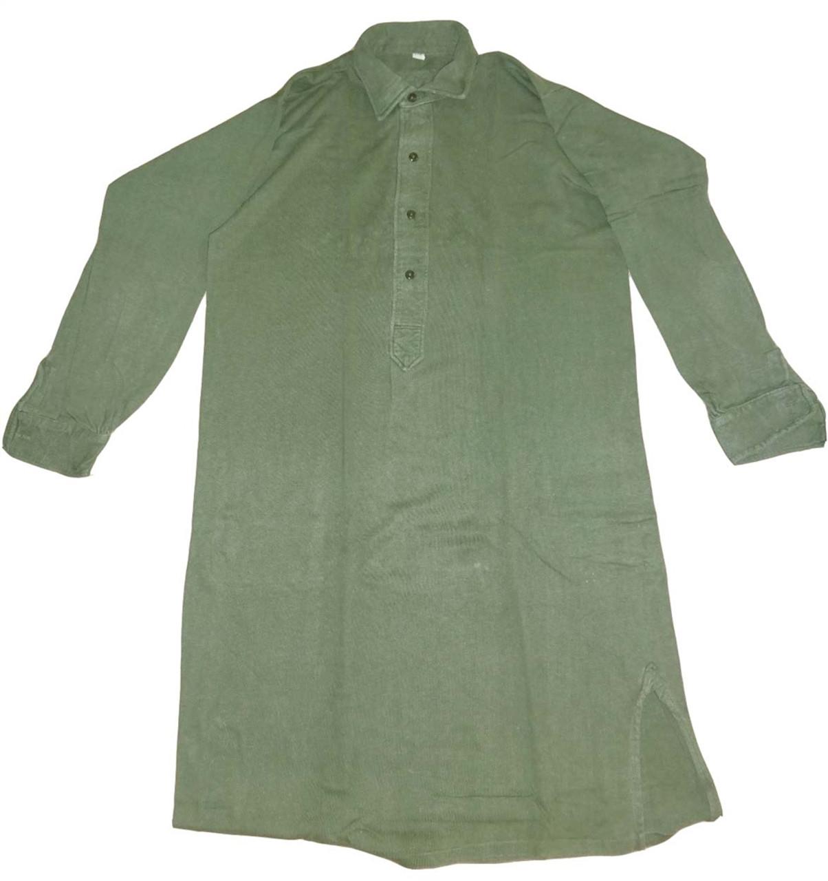 Original German BW OD Button Front Tricot Shirt from Hessen Surplus