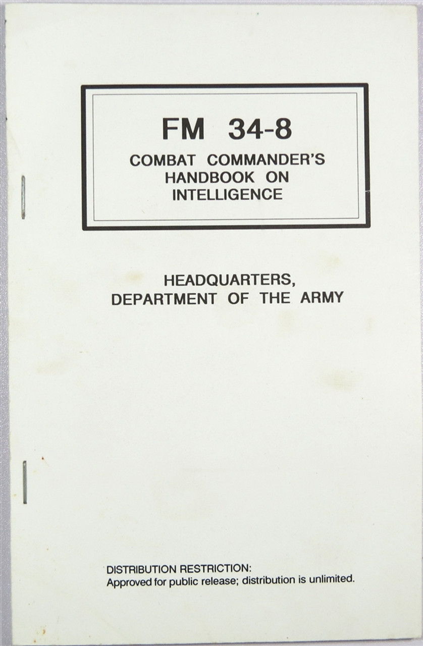FM 34-8 Combat Commander's Handbook on Intelligence