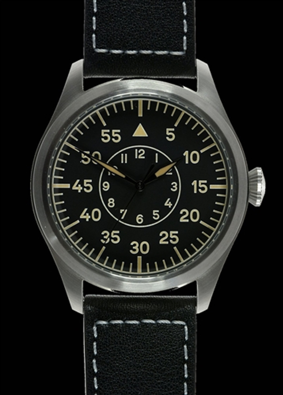 Classic 46mm Limited Edition XL LW Retro Military Pilots Watch with Sweep Second Hand from Hessen Militaria