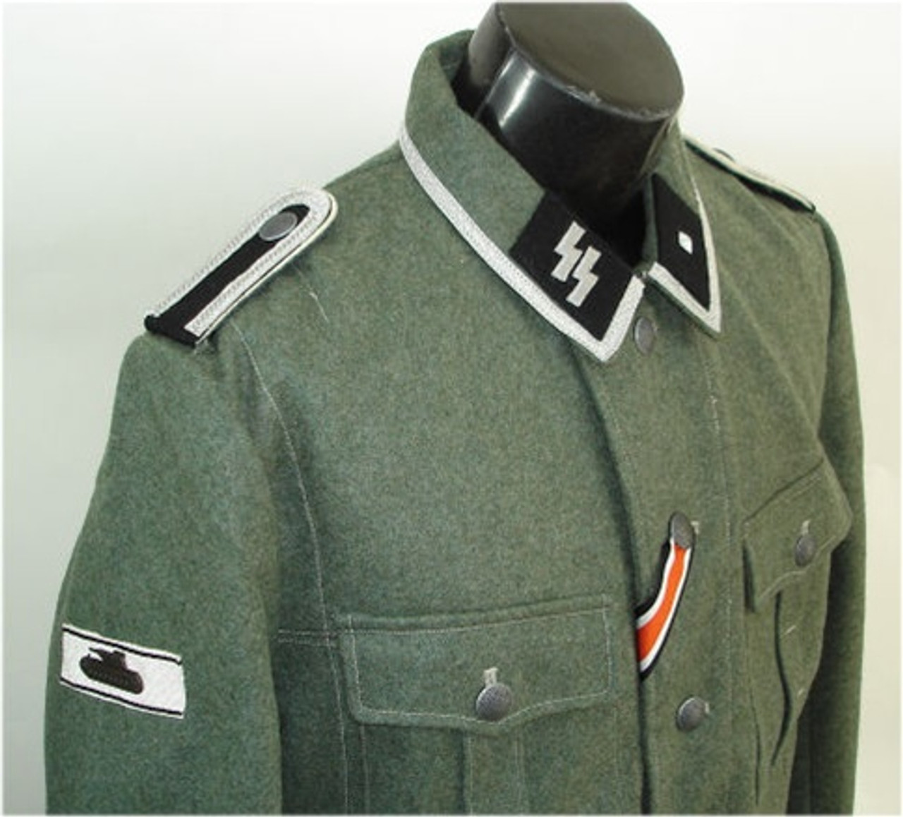 Hessen Antique offers basic sewing service for German uniform insignia. This service is performed on a custom order basis when purchasing a new German tunic from us.