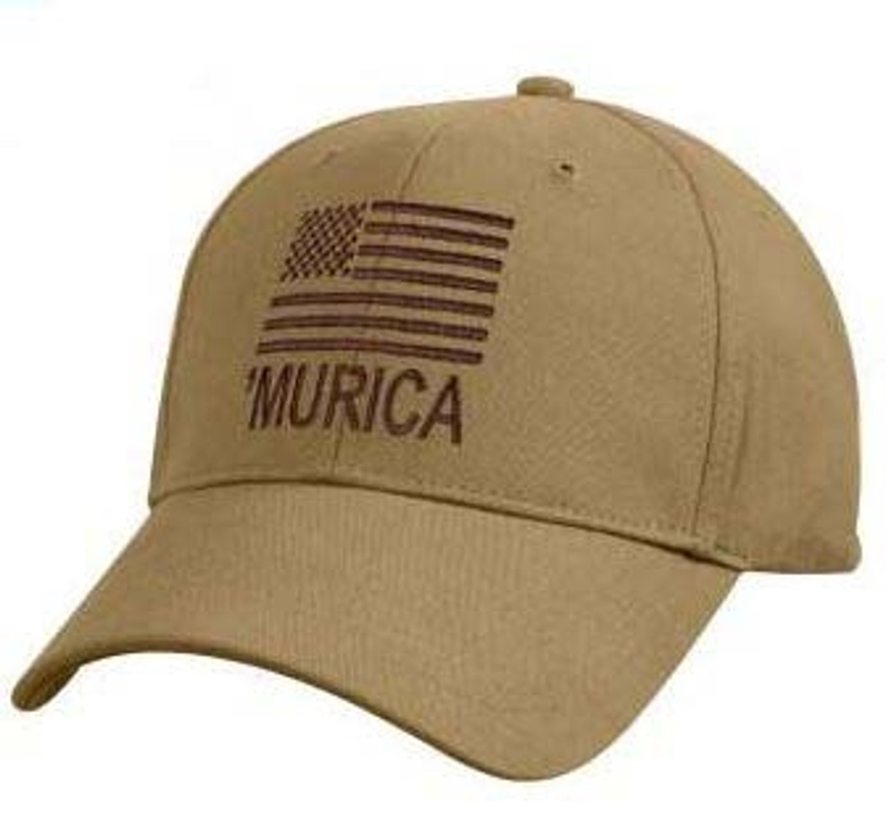 'MURICA Coyote Brown Deluxe Low Profile Cap With Flag from Hessen Antique