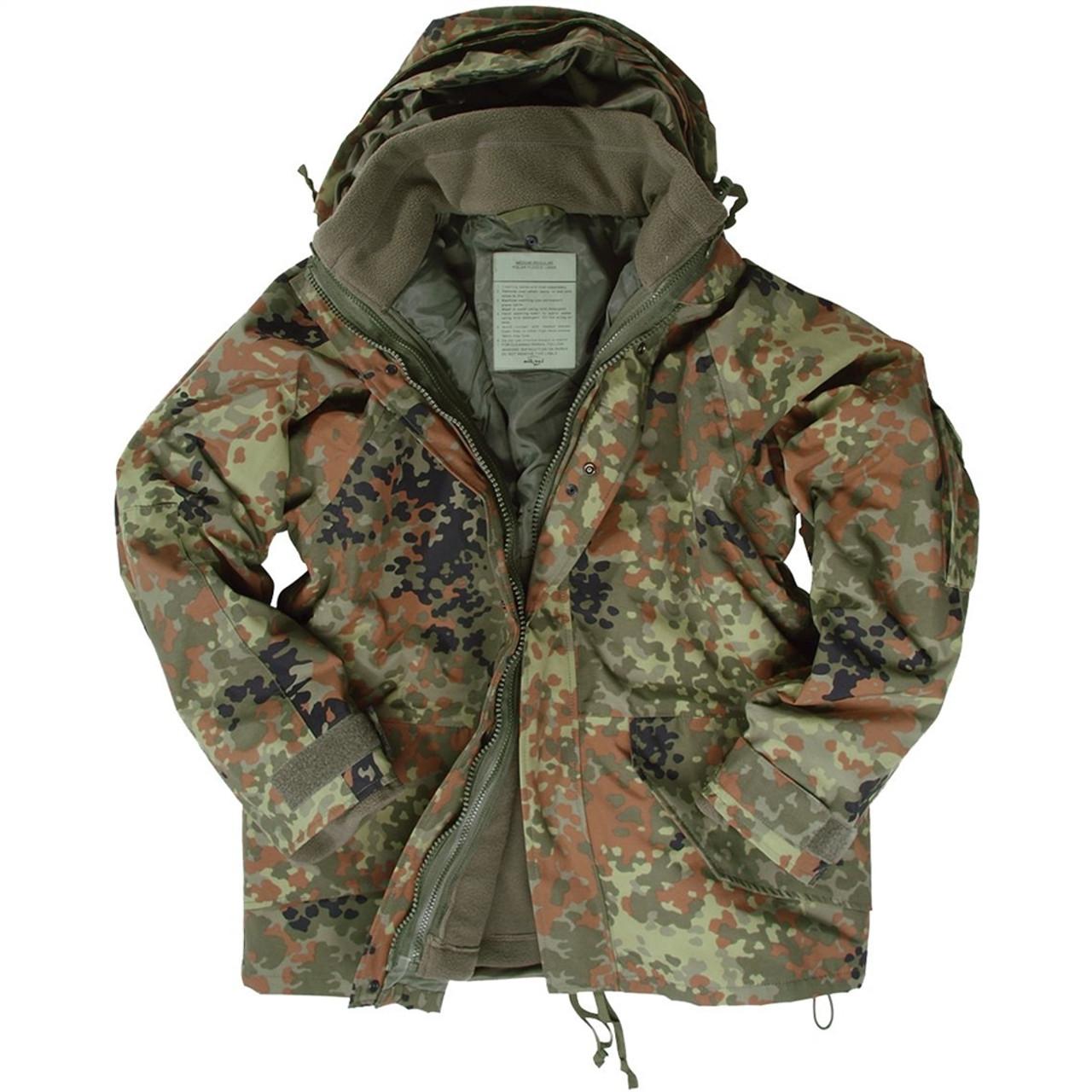 MIL-TEC Bw Flectarn Camo Wet Weather Jacket With Fleece Liner
