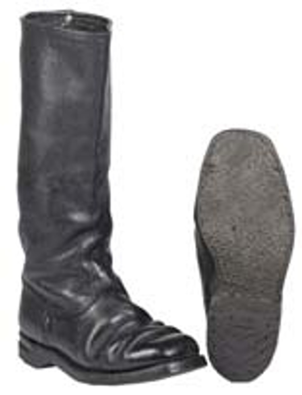 German Police Black Leather Riding Boots from Hessen Antique