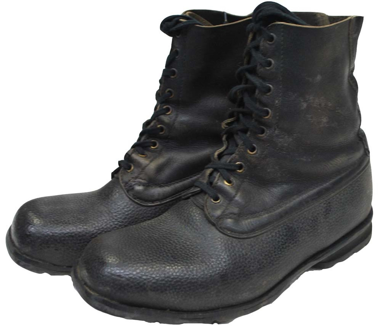 Swedish Army Black Low Boots With Rubber Soles from Hessen Antique