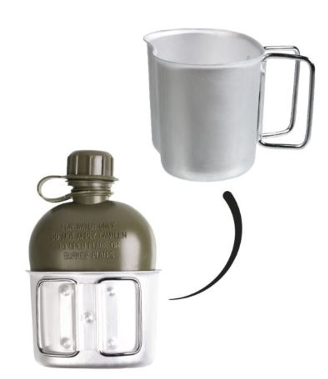 Austrian Army OD Canteen with Cup and Cover from Hessen Antique