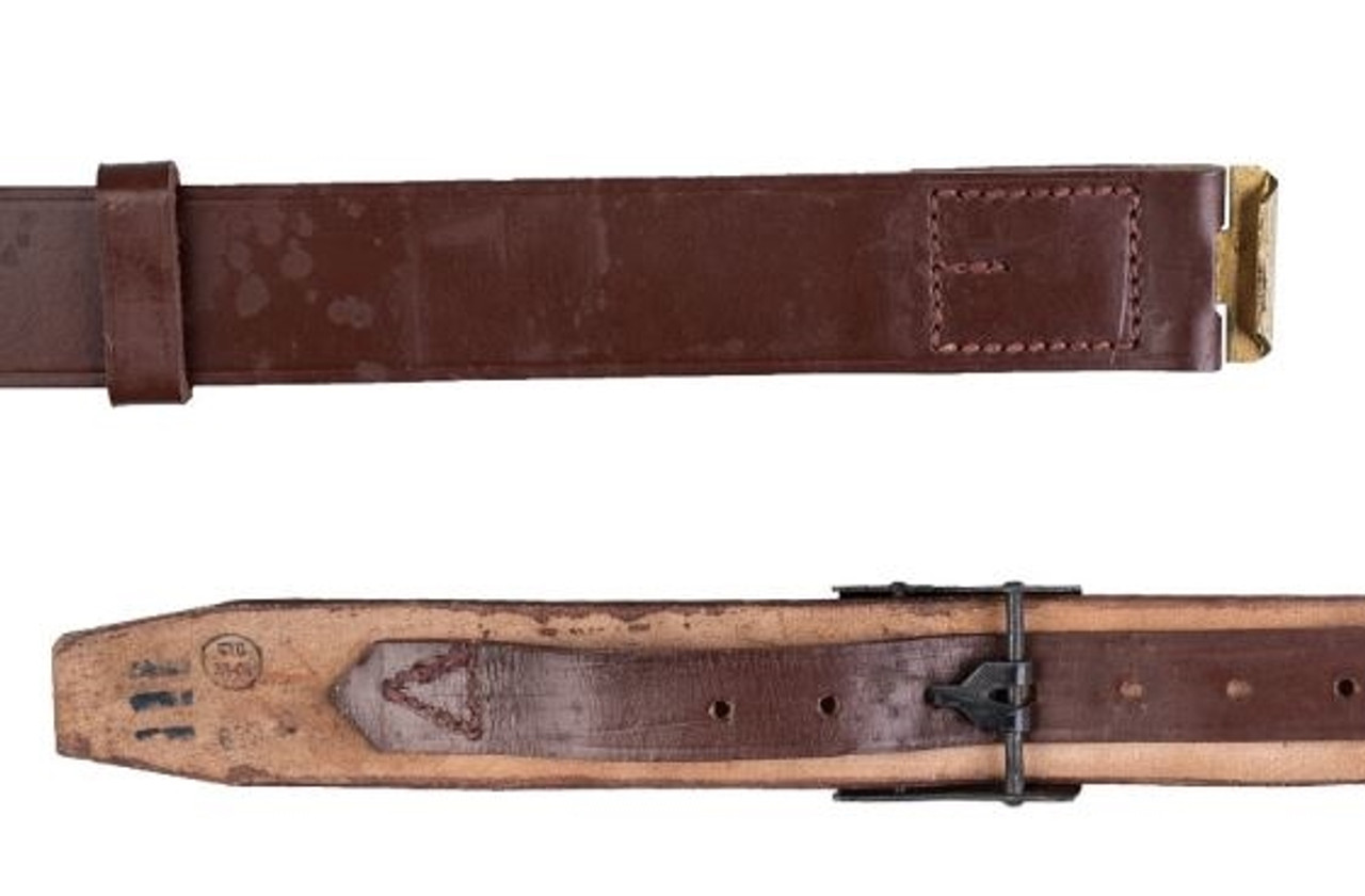 Romanian Army Leather Equipment Belt With Buckle Hessen Antique