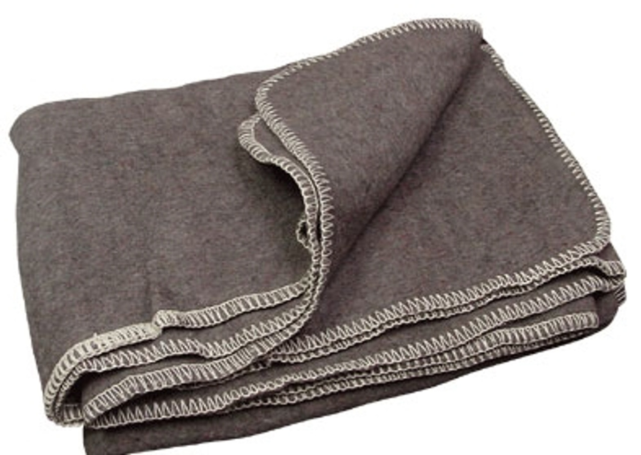 Israeli Grey Wool Blanket from Hessen Antique
