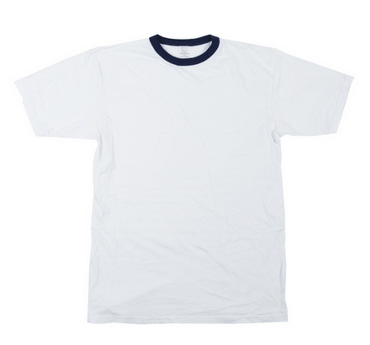 BW White T-Shirt With Blue Trim - Used from Hessen Surplus