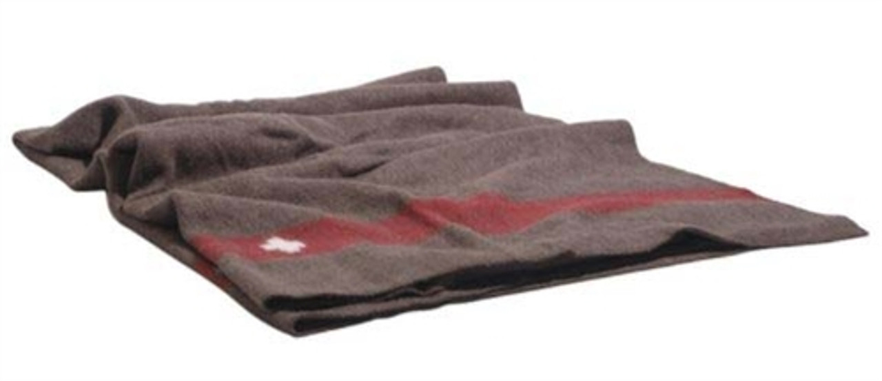 Swiss Brown Wool Blanket from Hessen Antique