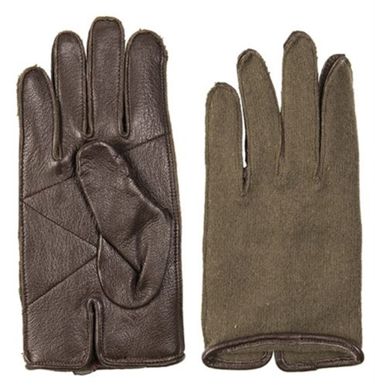 French Army OD Leather & Wool Gloves from Hessen Antique