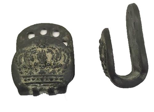 1915 Crown Button, Belt Hooks, Blackend Steel  - 23mm -   Sold by the Pair Hessen Antique