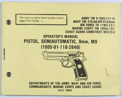 Operator's Manual, Pistol, Semiautomatic 9mm, M9