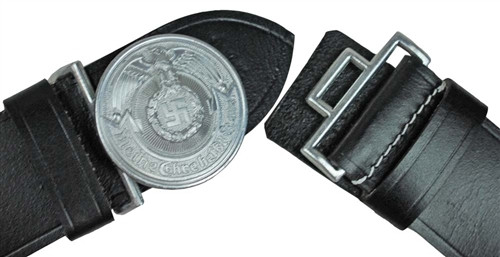SS Officer's Black Leather Belt And Buckle from Hessen Antique