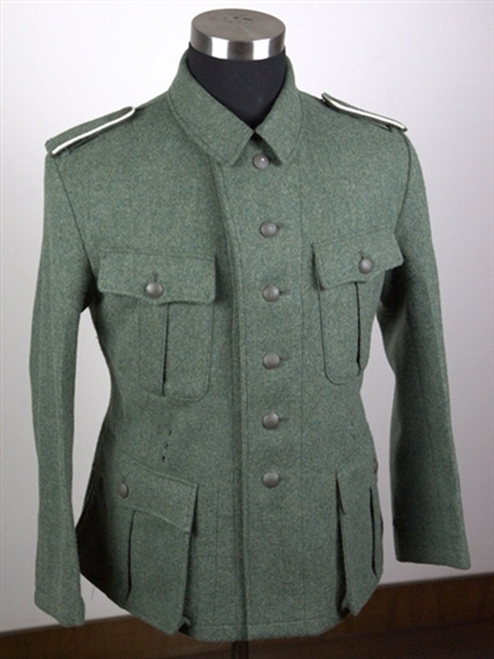 Custom Field-grey Tunic in Reed green Herring Bone Twill from Hessen Antique
