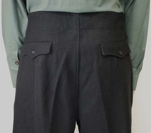 Custom Panzer Black Wool Trousers