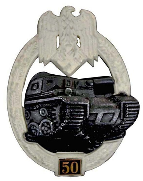 50 PANZER ASSAULT BADGE - IN SILVER from Hessen Antique