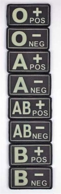 Bundeswehr Glow In Dark PVC Blood Type Tab from Hessen Antique