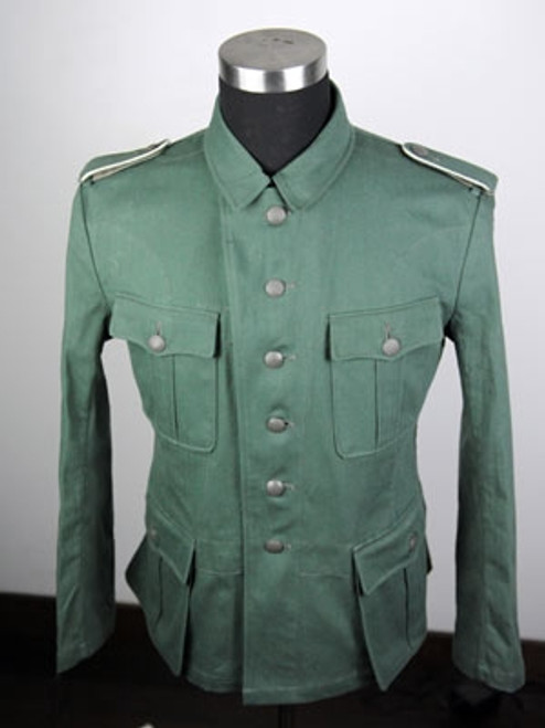 Custom German Tunic in Reed green Herring Bone Twill from Hessen Antique