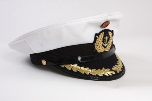 Bw Navy Officer White Visor Cap from Hessen Antique