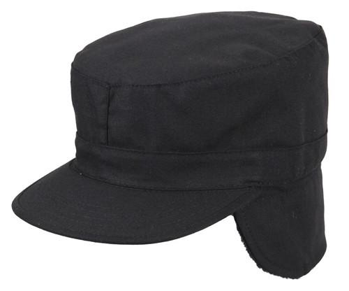 Black Patrol Cap w/Ear Flaps from Hessen Tactical