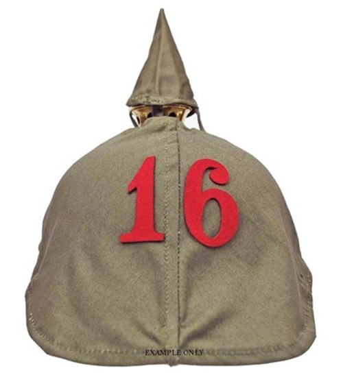 Hessen Antique offers basic sewing service for Number on Pickelhaube Cover . This service is performed on a custom order basis when purchasing a new German helmet cover from us.