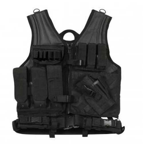 Tactical load bearing vest specifically designed for use with new MOLLE gear. MOLLE FIELD VEST in Black . This vest lets you configure your gear the way you like and keep it that way. MILSPEC materials and construction.