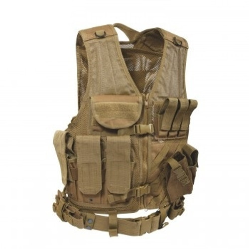 Tactical load bearing vest specifically designed for use with new MOLLE gear. MOLLE FIELD VEST in Coyote Brown. This vest lets you configure your gear the way you like and keep it that way. MILSPEC materials and construction.