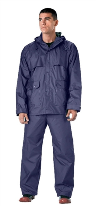 Navy Blue 2 Piece Microlite PVC Rainsuit from Hessen Antique