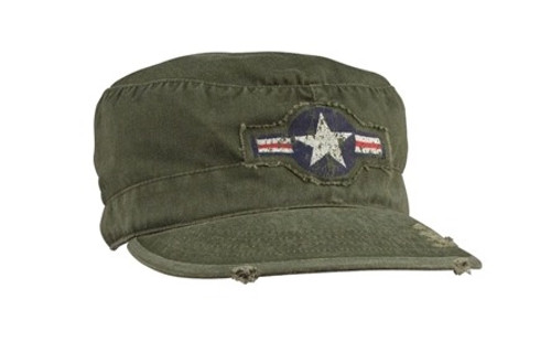 Vintage Military Fatigue Cap - O.D. with Army Air Corps