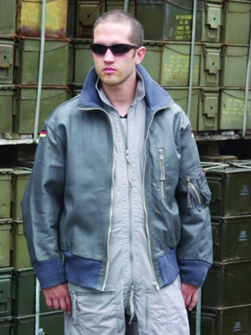 German Grey Leather Flight Jacket from Hessen Antique