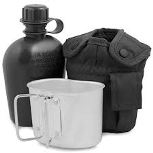 Mil-Tec US Style Plastic Canteen With Cup & Black Cover from Hessen Antique