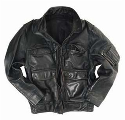 Black Leather Police Jacket from Hessen Antique
