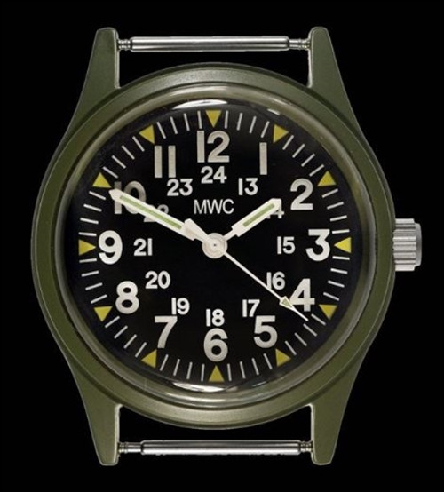 Classic 1960s/70s US Pattern Olive Drab Vietnam Watch on Khaki Military Strap from Hessen Militaria