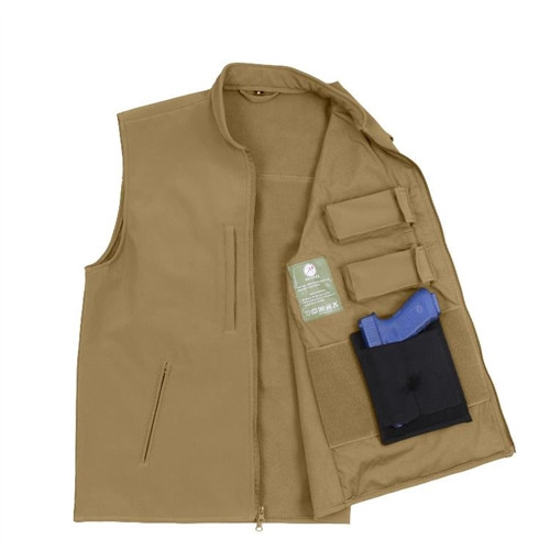 Concealed Carry Soft Shell Vest - Coyote Brown