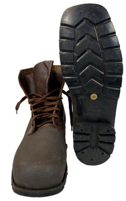 Swedish Army Brown Low Boots With Rubber Soles from Hessen Antique