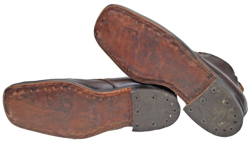 Swedish Army Brown Leather Low Boots Leather Soles from Hessen Antique