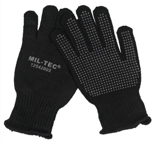 MIL-TEC Black Gripper Gloves from Hessen Antique