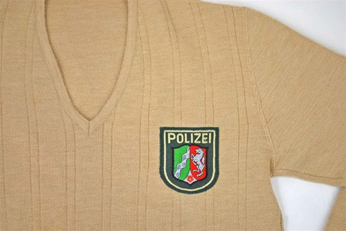 German Khaki Police V-neck Sweater from Hessen Antique