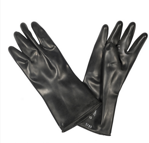Dutch Military Issue Black Rubber Gloves from Hessen Antique