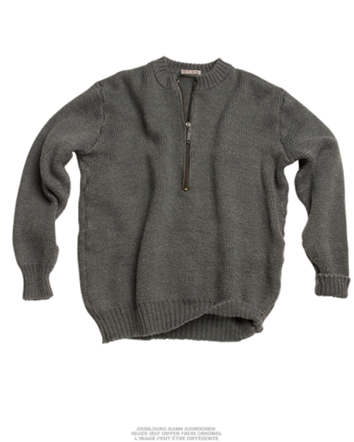 Swiss Crew Neck Wool Sweater With Zipper  from Hessen Antique