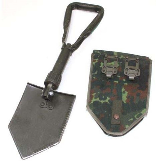 German Orig. Tri-Fold Shovel w/ Flecktarn Camo Case